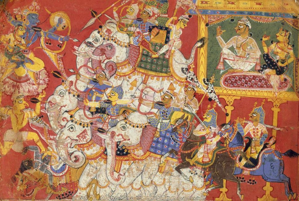 Krishna and Satyabhama fighting Narakasura's armies -Painting from the Metropolitan Museum