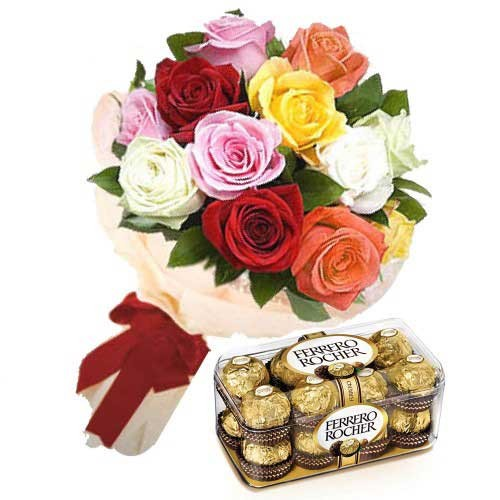 Flowers and chocolates never go wrong on any occasion. This combo consists of a bunch of mixed roses with a box of 16 pieces of Ferrero Rocher chocolates.