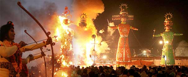 Burning the Ravana Effigy on Dussehra