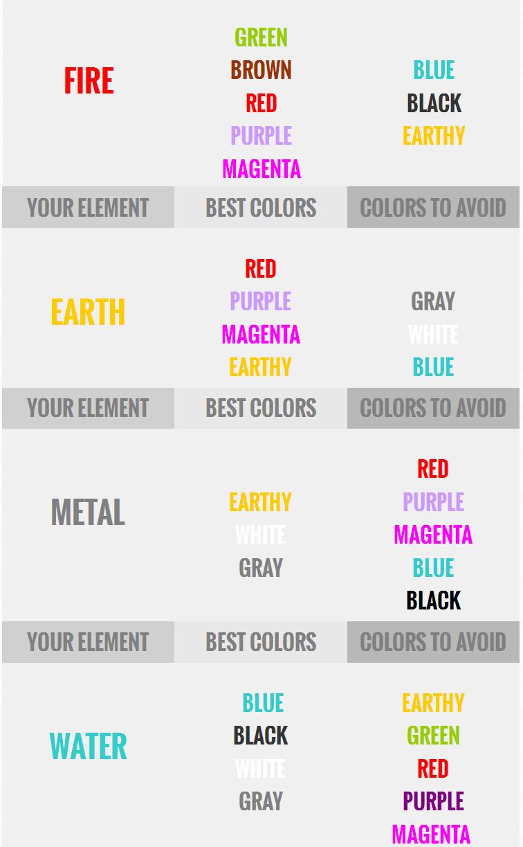 fashion feng shui colors