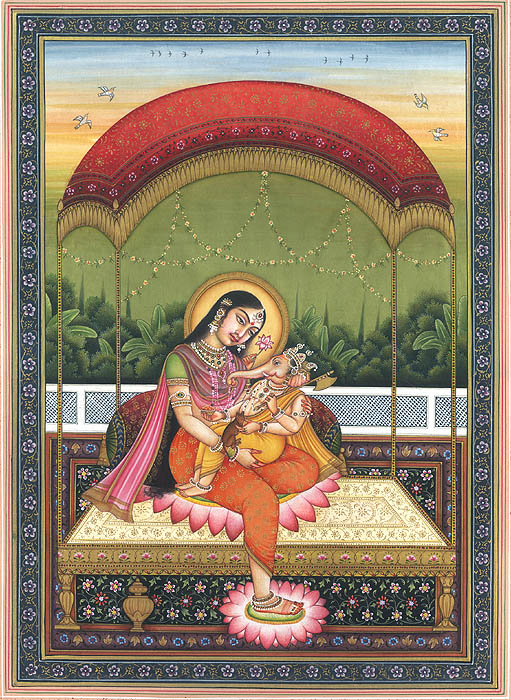 Baby Ganesha with Parvati - Indian Miniature Painting