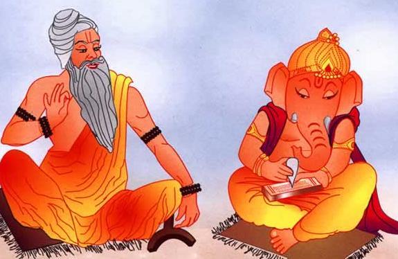 Lord Ganesha wriring Mahabharata with Sage Vyasa