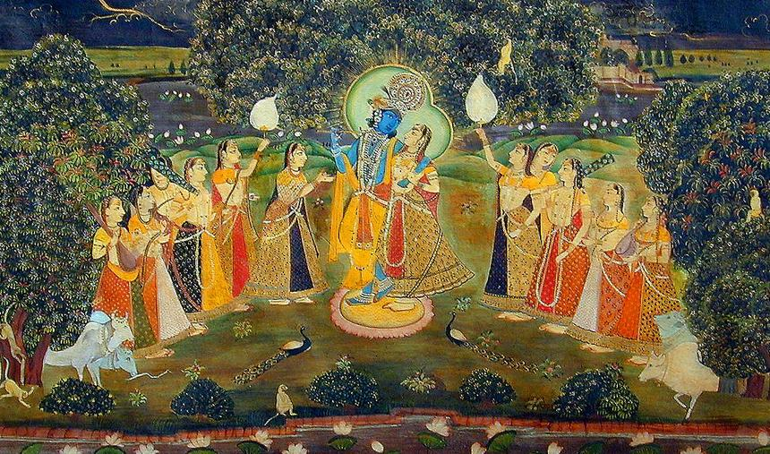Krishna Rasleela in a miniature painting