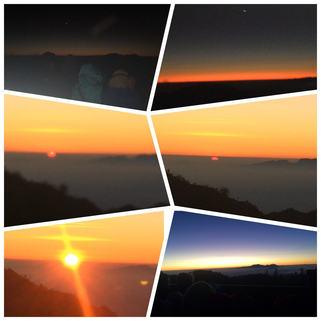 Different moments in the sunrise at Mt Bromo