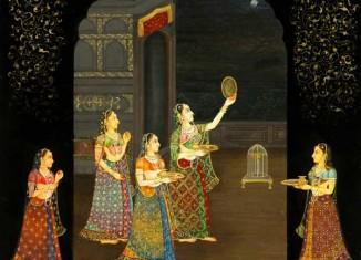 Karwa Chauth Indian Miniature painting