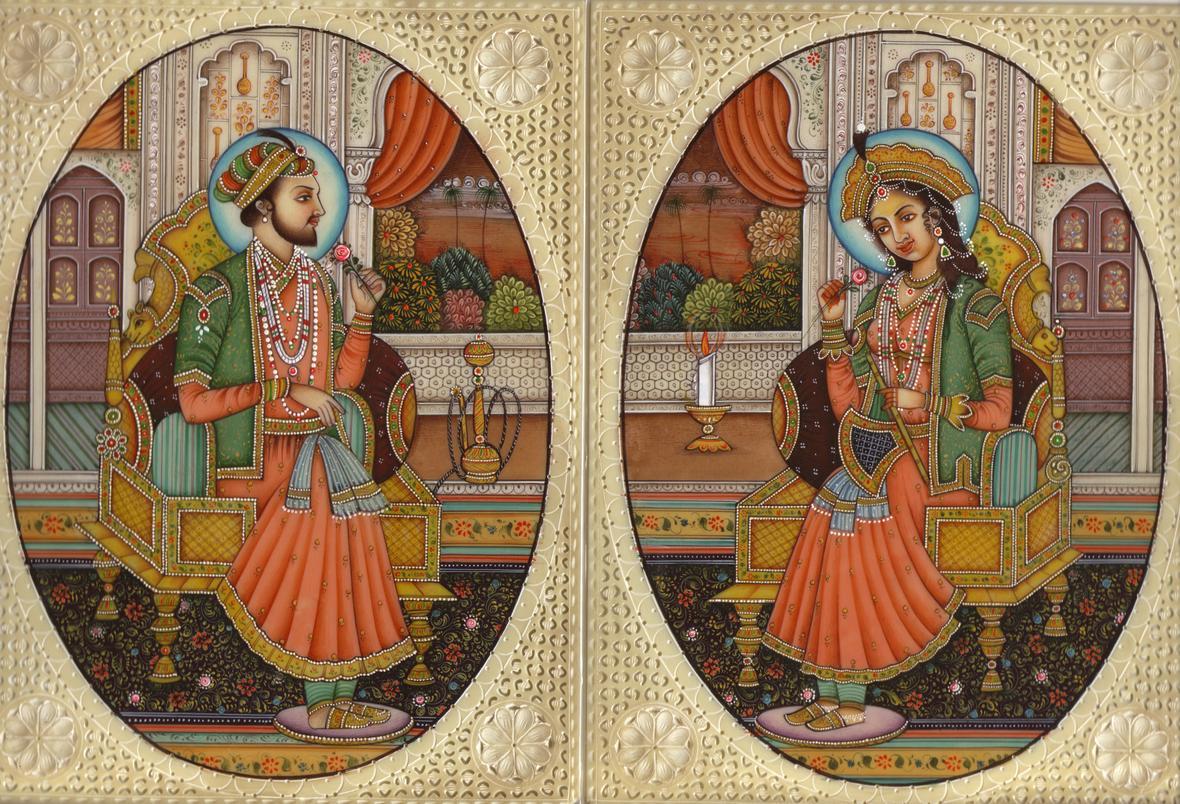 Mumtaz & Shah Jahan Miniature Painting