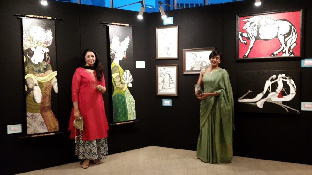 Meera Joseph & Kshipra Rao with their artwork