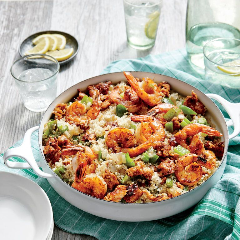 sausage shrimp and quinoa skillet