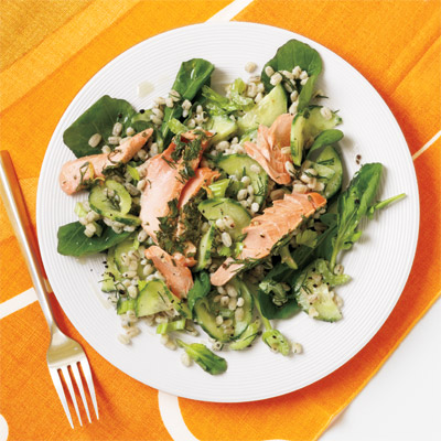 Herb Roasted Salmon and Barley Salad Recipe