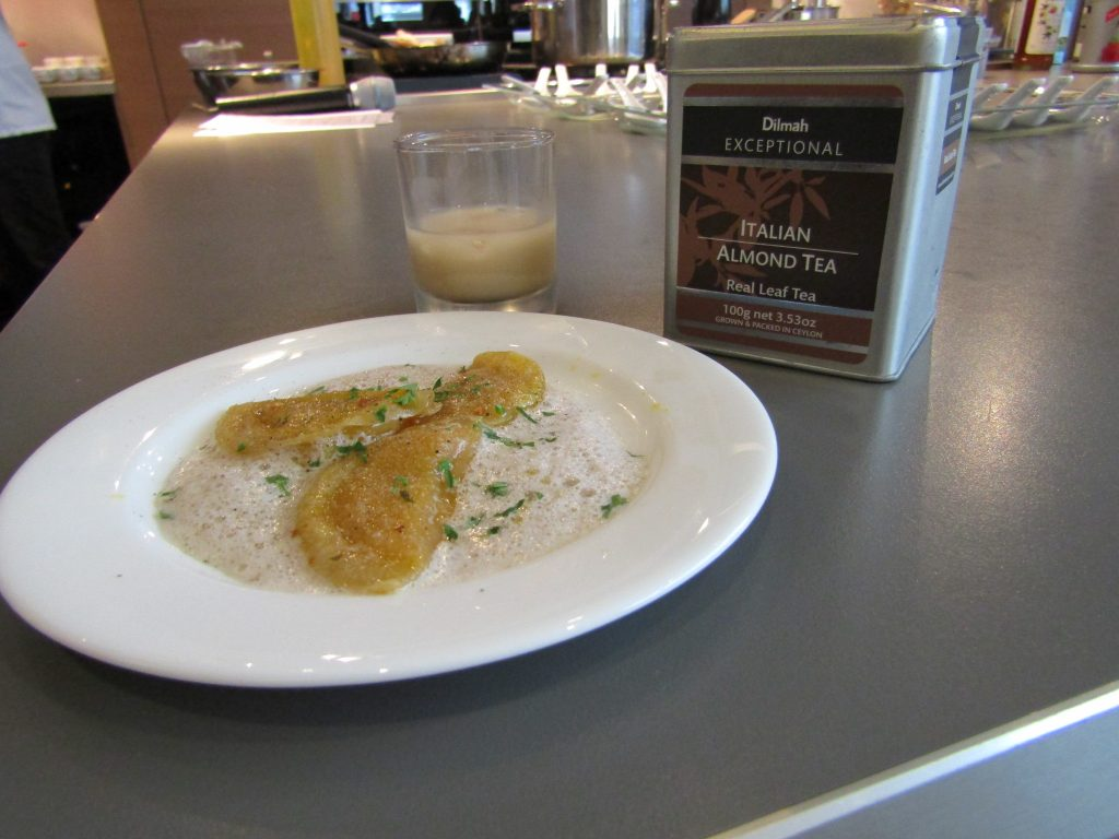 The first canape served was Roasted Pumpkin Ravioli, paired with Monin Salted Caramel, Dilmah Italian Almond Tea, fresh milk and zest of orange.