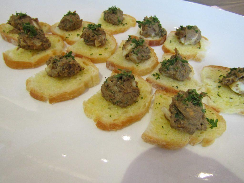 Foie De Poulet: chicken liver rilettes, caramelized onions and grilled baguette.