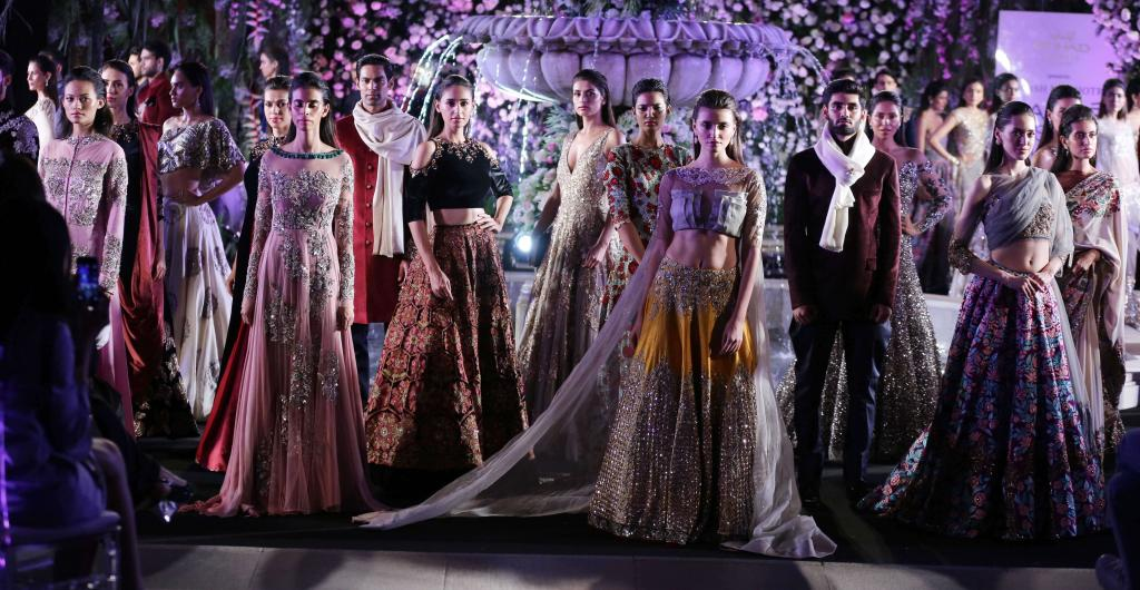 Manish Malhotra's glittering new collection of occasion wear lends a sparkle to pre-wedding functions such as the sangeet and mehendi.