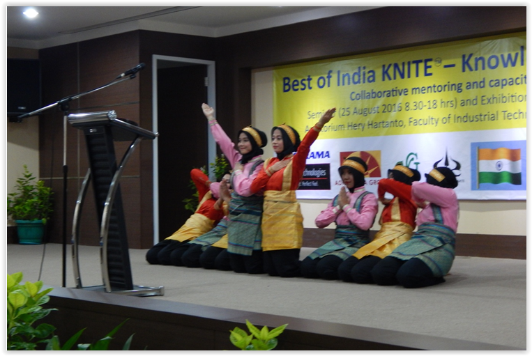 Students of Trisakti University performing the welcome Saman dance at the event