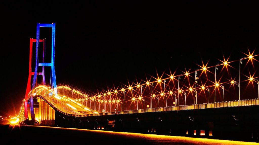 Suramadu Bridge at night
