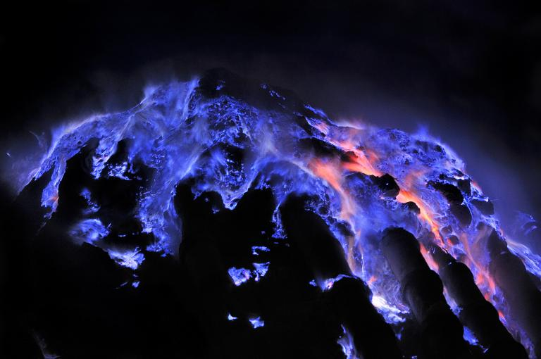 Blue flame at Ijen Crater
