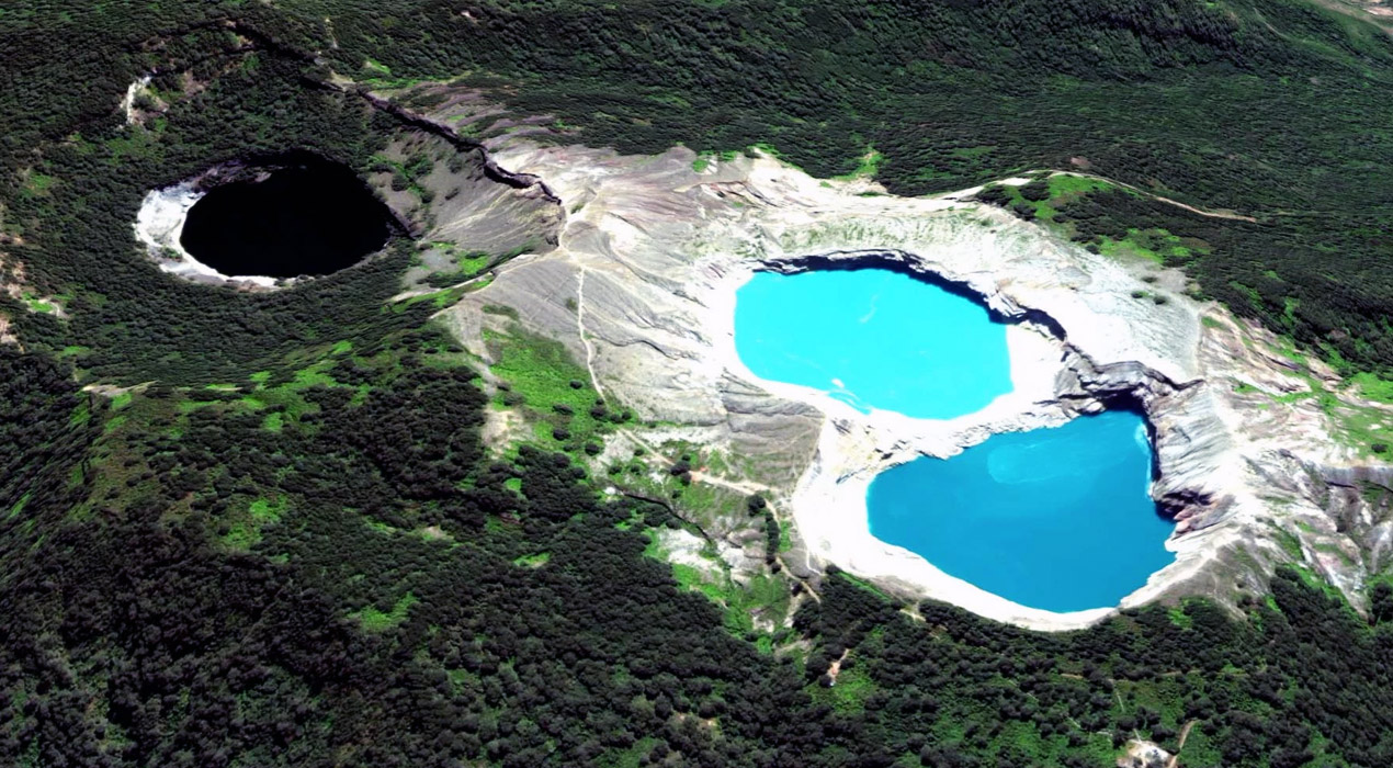 Aerial view of Kelimutu Lakes