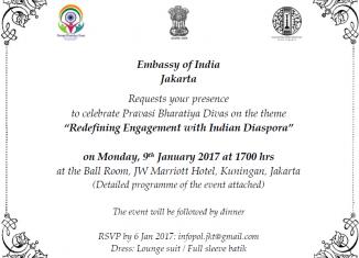 Invitataion to 14th Pravasi Bharatiya Divas (PBD) on Monday, 09 January 2017 at JW Marriott Hotel in Jakarta