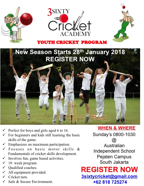 NEW SEASON Jakarta Youth Cricket Program @ AIS starts 28th January