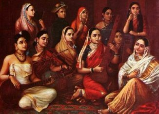 Raja Ravi Verma's Painting of a group of women wearing sarees