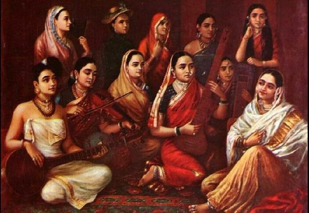 Raja Ravi Verma's Painting of a group of women wearing sarees