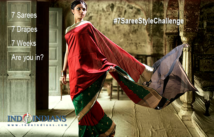 Indoindians Saree challenge - #7SareeStyleChallenge with 7 drapes