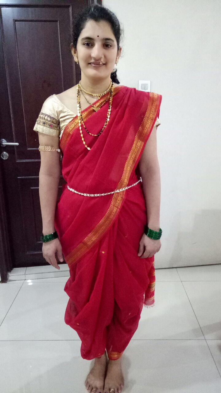 Maharashtrian Style Saree front view