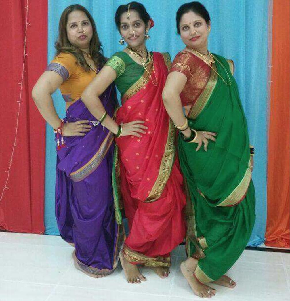 Pretty ladies in the Maharashtrian Saree style