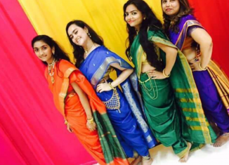 Kavita Zaveri and friends in the Maharashtrian saree style