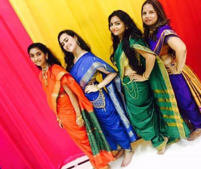 Kavita Zaveri and friends in the Maharashtrian saree style