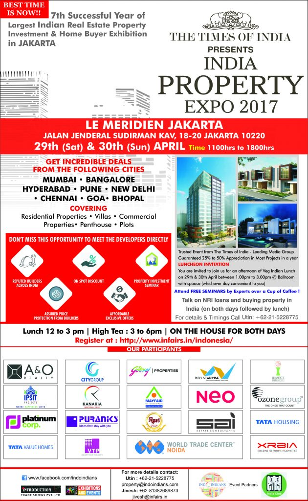 TOI presents India Property Expo 2017 in Jakarta - April 29-30