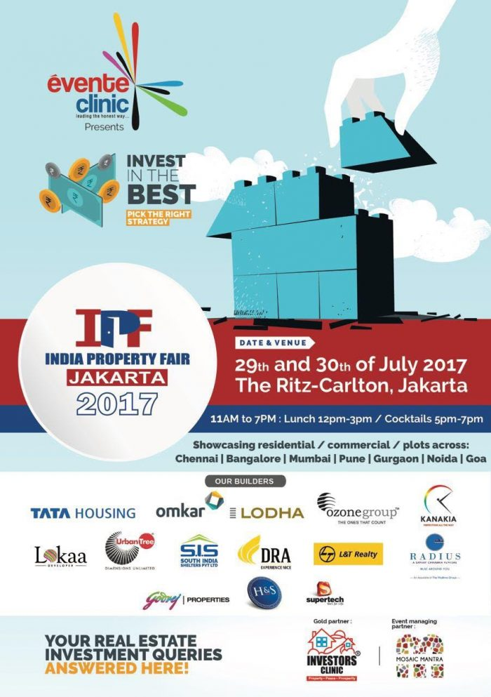 Indian Property Fair in Jakarta on 29 - 30 July 2017
