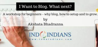 Blogging workshop with Akshata at Indoindians office on 1st Nov 2017