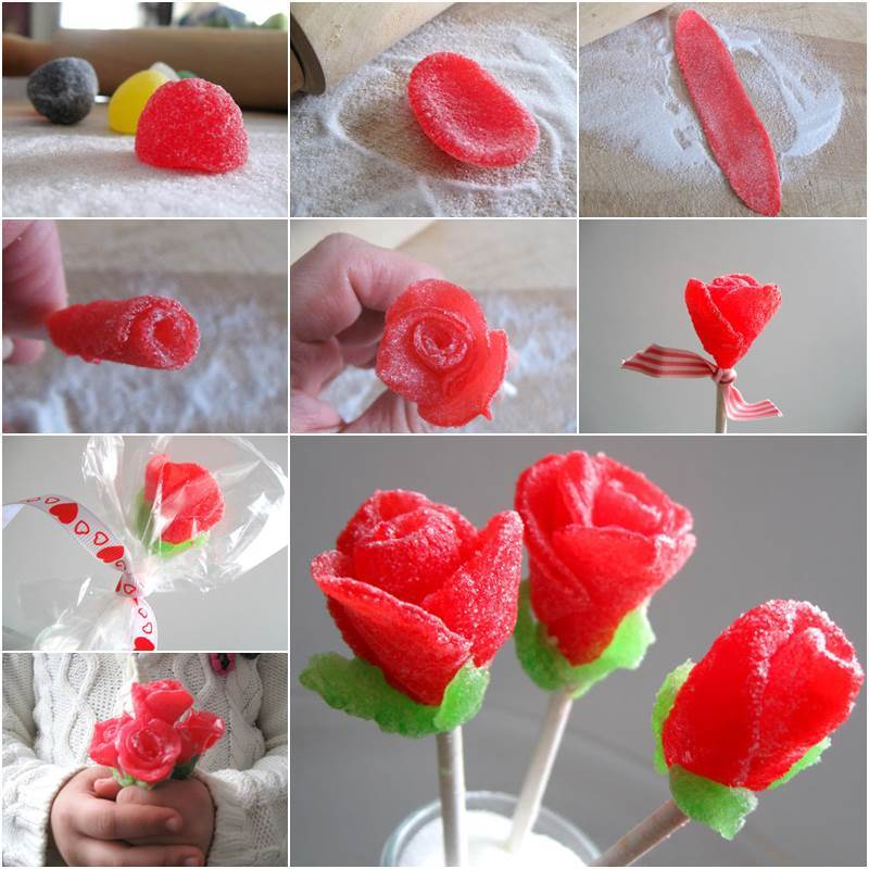 Edible gumbrop rose for Valentine's Day