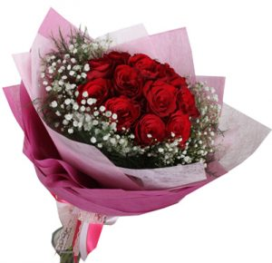 Valentines Day Bouquet of 12 roses on Indoindians Giftshop