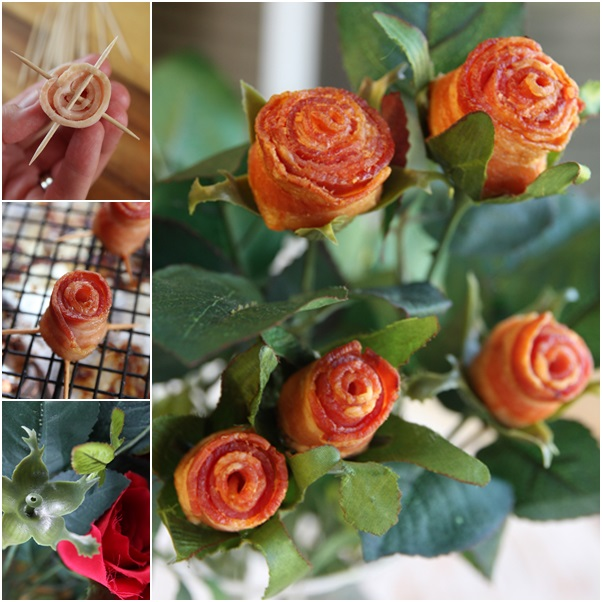 Edible Bacon roses for Valentine's Day
