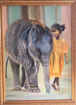 Artist: Suvarna Mantha Title: Elephant calf n little girl Date: 24-feb-2018 Size: 50/70 cms Medium: Mixed Media - oil & acrylic