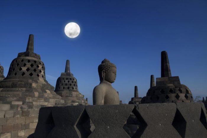 Borobudur under the full moon of Vesak