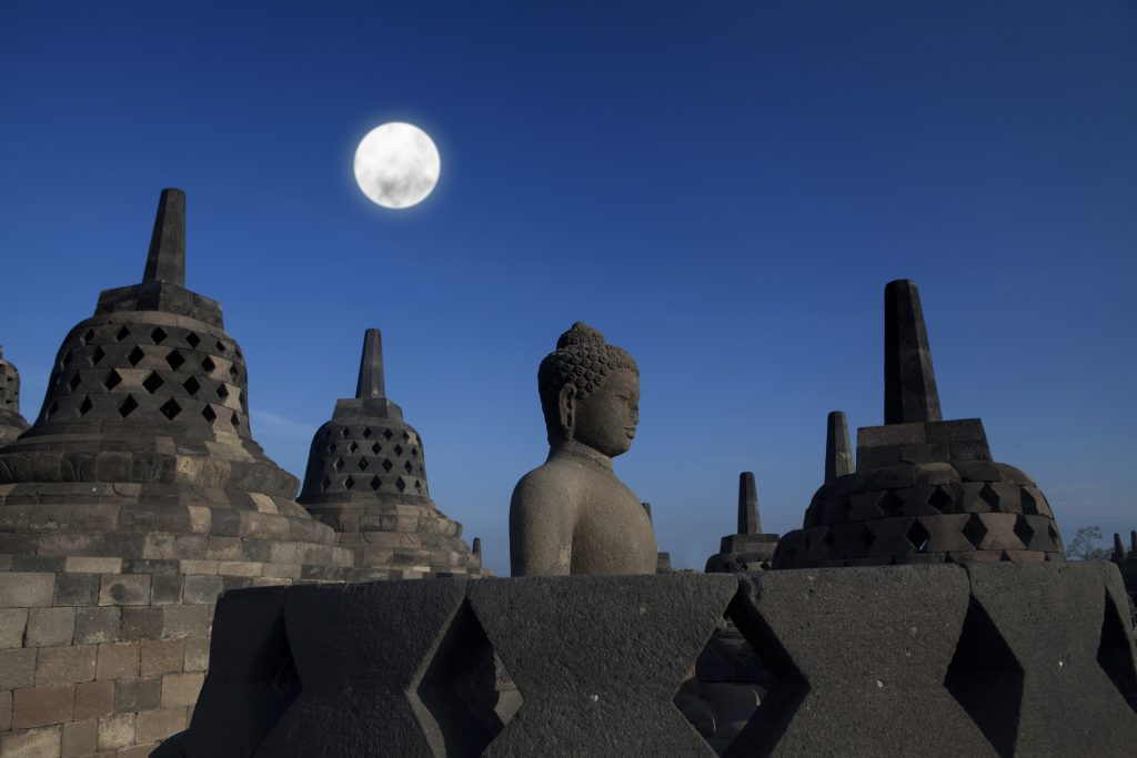 Borobudur under the full moon of Vesak