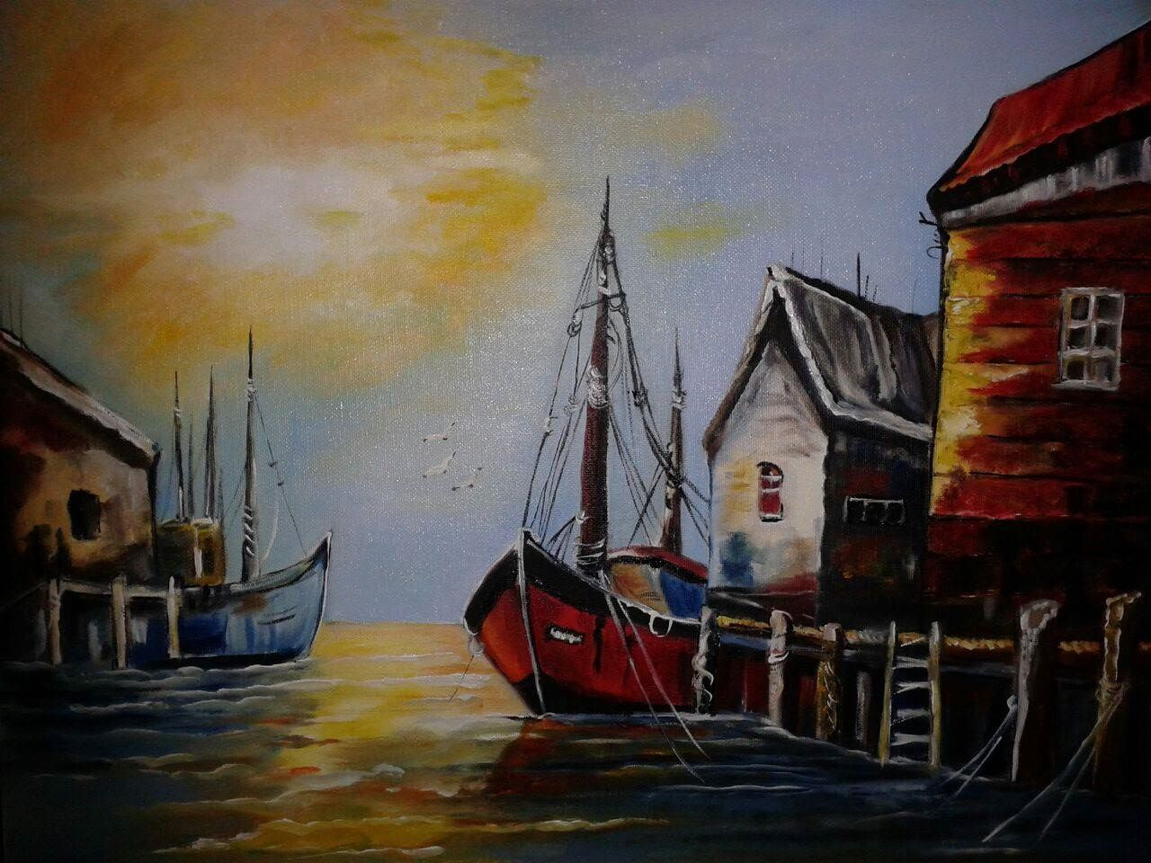 Title:Sailing Boat at Sunset Point Medium: Oil on Canvas Date: 2016