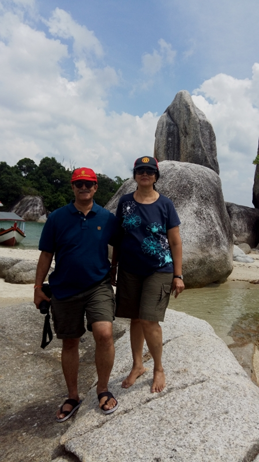 With my wife Uma, at one of the uninhabited islands