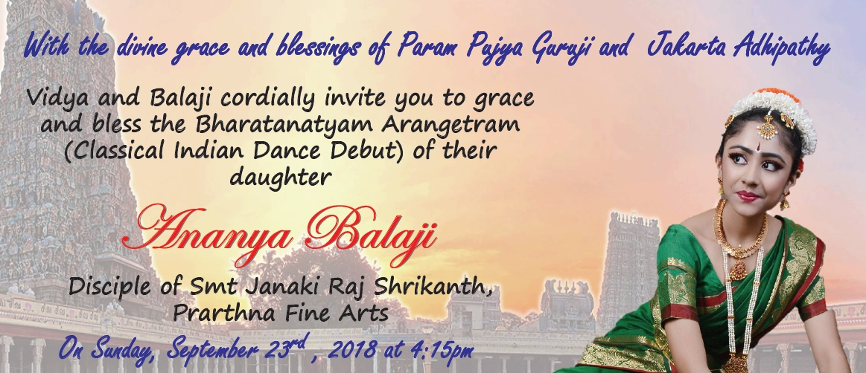 Ananya Balaji Arangetram invite
