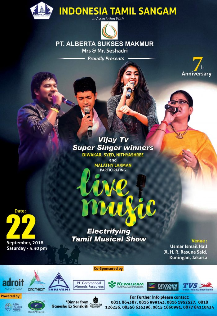 Grand Gala Musical Program Of Indonesia Tamil Sangam, By Vijay Tv Super Singer Winners - On Saturday, 22nd September, 2018