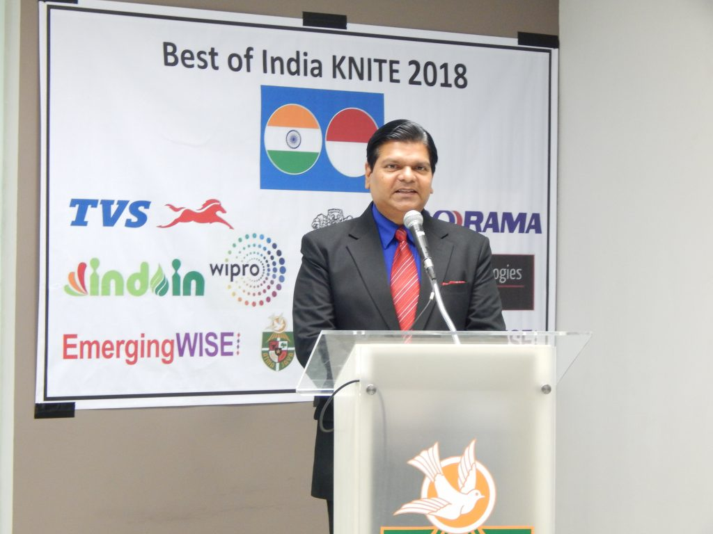 Best of India KNITE Founder Mr Amol Titus address delegates at the opening session. He provided an overview of India's achievements in Knowledge, IT and Engineering and the importance of creating win-win linkages around these between the two countries.