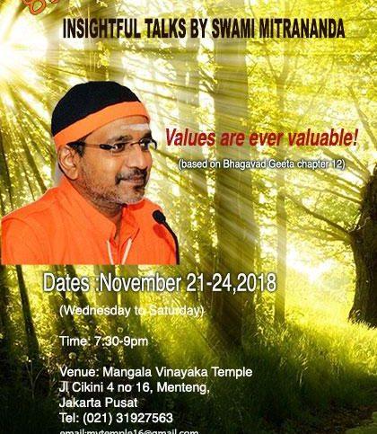 insightful talks by Swami Mitrananda