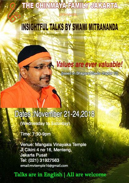 insightful talks by Swami Mitrananda