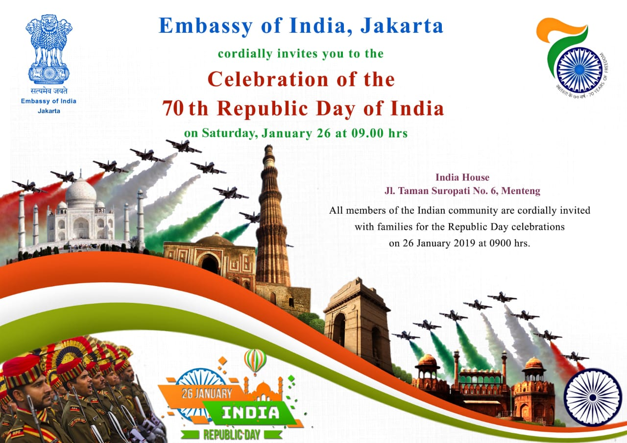 70th Republic Day of India Flag Hoisting Ceremony in Jakarta