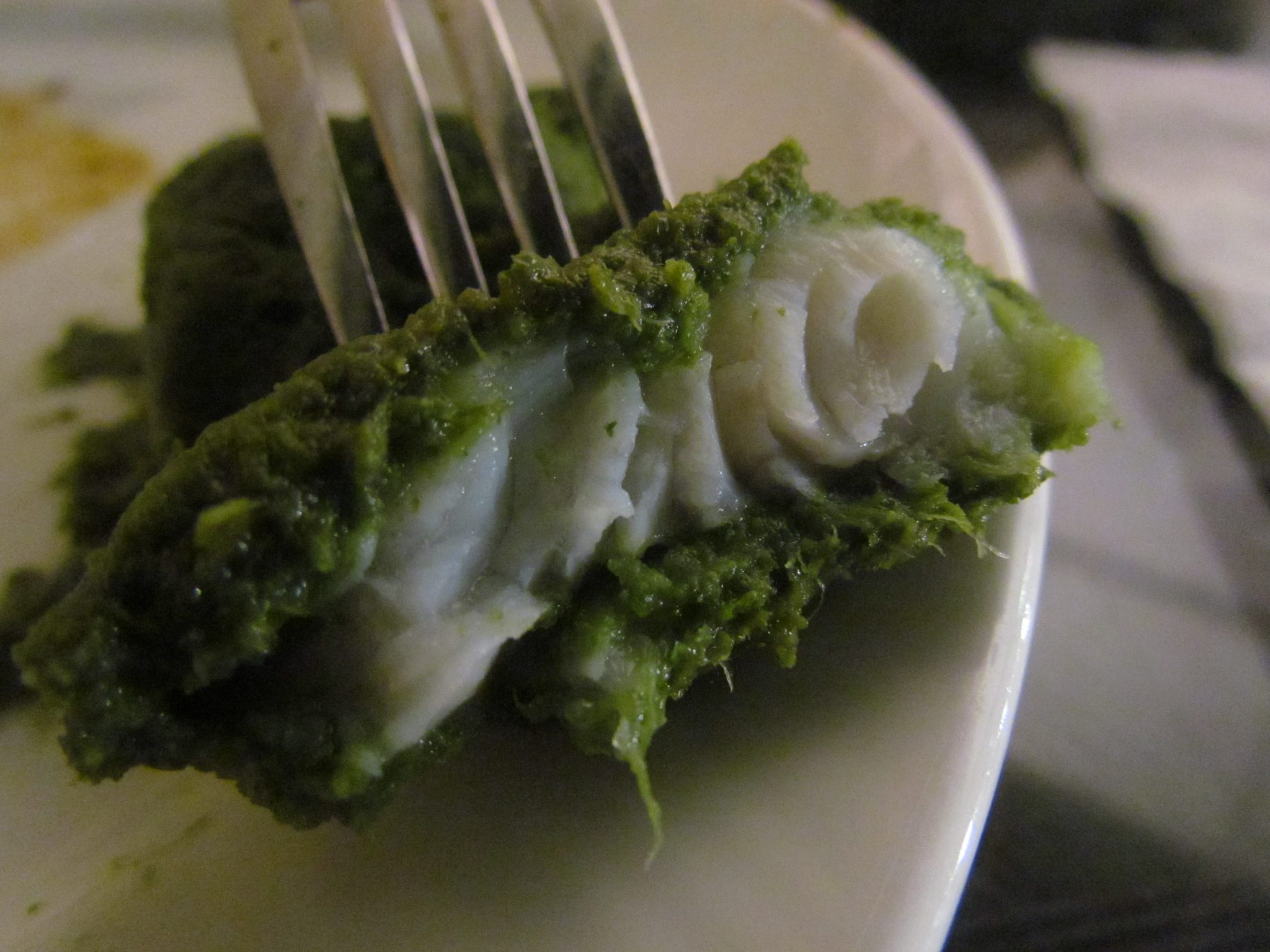 Perfect flaky fish coated with spicy green chutney