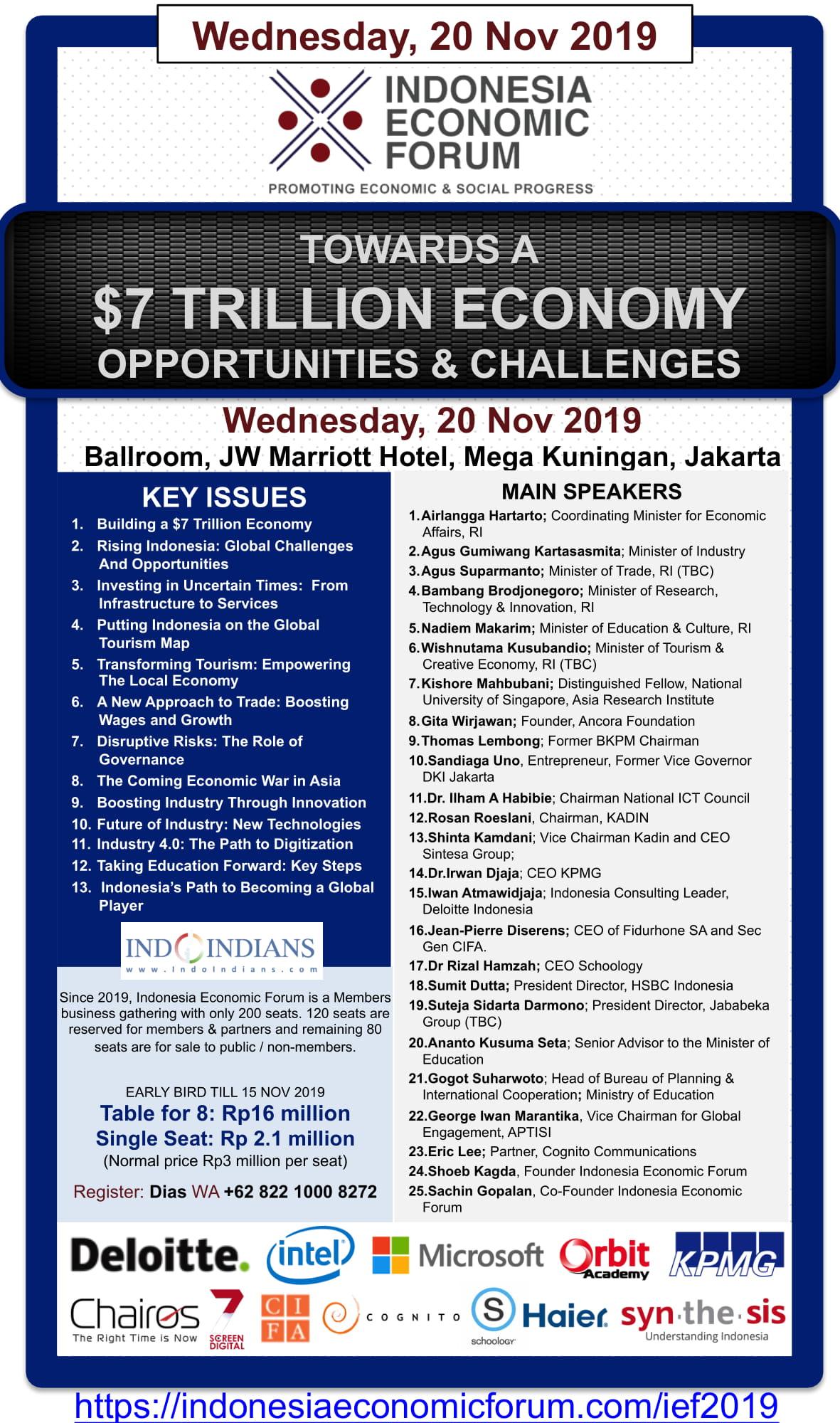 Indonesia Economic Forum 2019 – Towards A $7 Trillion Economy: Opportunities & Challenges