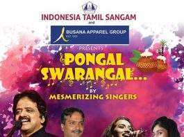 "Indonesia Tamil Sangam proudly presents a South Indian musical show on 18th January, 2020. We invite you for our Pongal event – ""Pongal Swarangal"" a live musical show to be performed by the mesmerizing singers – Srinivas, SPB Charan, Kalpana & Alka Ajith along with complete orchestra of Mouna Ragam Murali, on Saturday, 18th January, 2020."