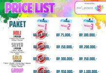 Price List Indoindians Holi Color Run Jan 2020